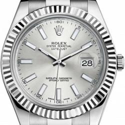 Rolex Datejust II Steel 18K White Gold 41 MM Watch 116334SIO