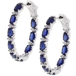18K White Gold 5.21 ct Blue Sapphire Diamond Womens Oval Hoop Earrings