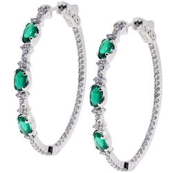 18K White Gold 2.27 ct Emerald Diamond Womens Oval Hoop Earrings