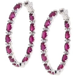 18K White Gold 7.47 ct Ruby Diamond Womens Oval Hoop Earrings
