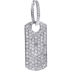 14K White Gold 3.96 ct Iced Out Diamond Dog Tag Pendant