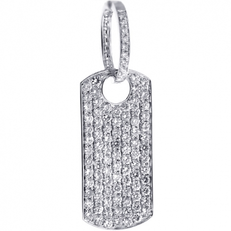 Mens Iced Out Diamond Dog Tag Pendant 14k White Gold 3 96 Ct