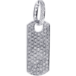 14K White Gold 1.79 ct Full Diamond Dog Tag Mens Pendant