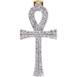 Mens Diamond Egyptian Ankh Cross 10K Yellow Gold 1.13 ct
