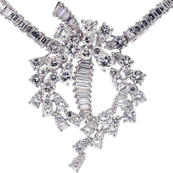 18K White Gold 24.00 ct Diamond Women's Necklace 17 Inches