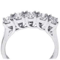 18K White Gold 1.08 ct Diamond Womens 5-Stone Wedding Ring
