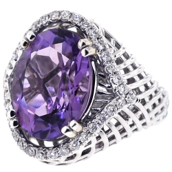 18K White Gold 9.75 ct Amethyst Diamond Womens Gemstone Ring