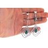 18K White Gold 5.27 ct Emerald Diamond Womens Dangle Earrings