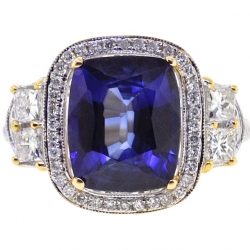 18K Yellow Gold 6.03 ct Blue Sapphire Diamond Womens Ring