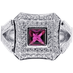 18K White Gold 1.61 ct Diamond Pink Tourmaline Womens Ring