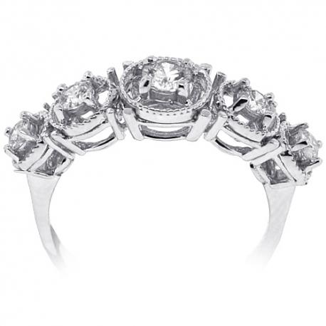 18K White Gold 0.65 ct Diamond Womens 5 Stone Halo Ring