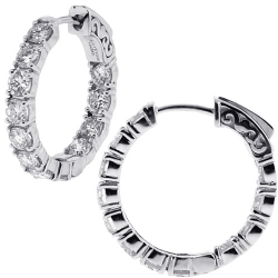 14K White Gold 3.73 ct Diamond Round Hoop Womens Earrings