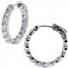 14K White Gold 3.73 ct Diamond Round Hoop Womens Earrings