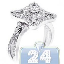 14K White Gold 0.94 ct Diamond Multi Shaped Engagement Ring