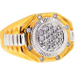 14K Two Tone Gold 0.50 ct Diamond Mens Step Ring