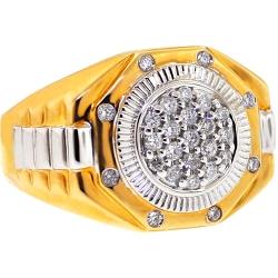 14K Two Tone Gold 0.50 ct Diamond Mens Step Ring