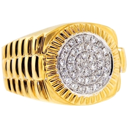 14K Yellow Gold 0.60 ct Diamond Mens Step Fluted Ring