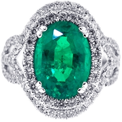 18K White Gold 6.98 ct Oval Emerald Diamond Womens Ring