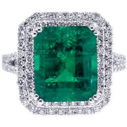 18K White Gold 7.14 ct Octagon Emerald Diamond Womens Ring