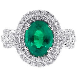 18K White Gold 4.45 ct Emerald Diamond Womens Halo Ring
