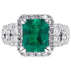 18K White Gold 4.44 ct Emerald Diamond Womens Ring