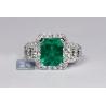 18K White Gold 4.44 ct Octagon Emerald Diamond Womens Ring