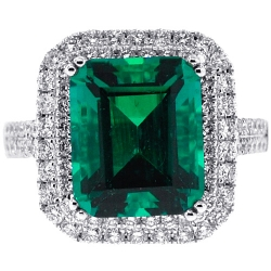 18K White Gold 6.76 ct Octagon Emerald Diamond Halo Ring