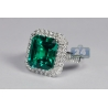 18K White Gold 6.76 ct Octagon Emerald Diamond Womens Halo Ring