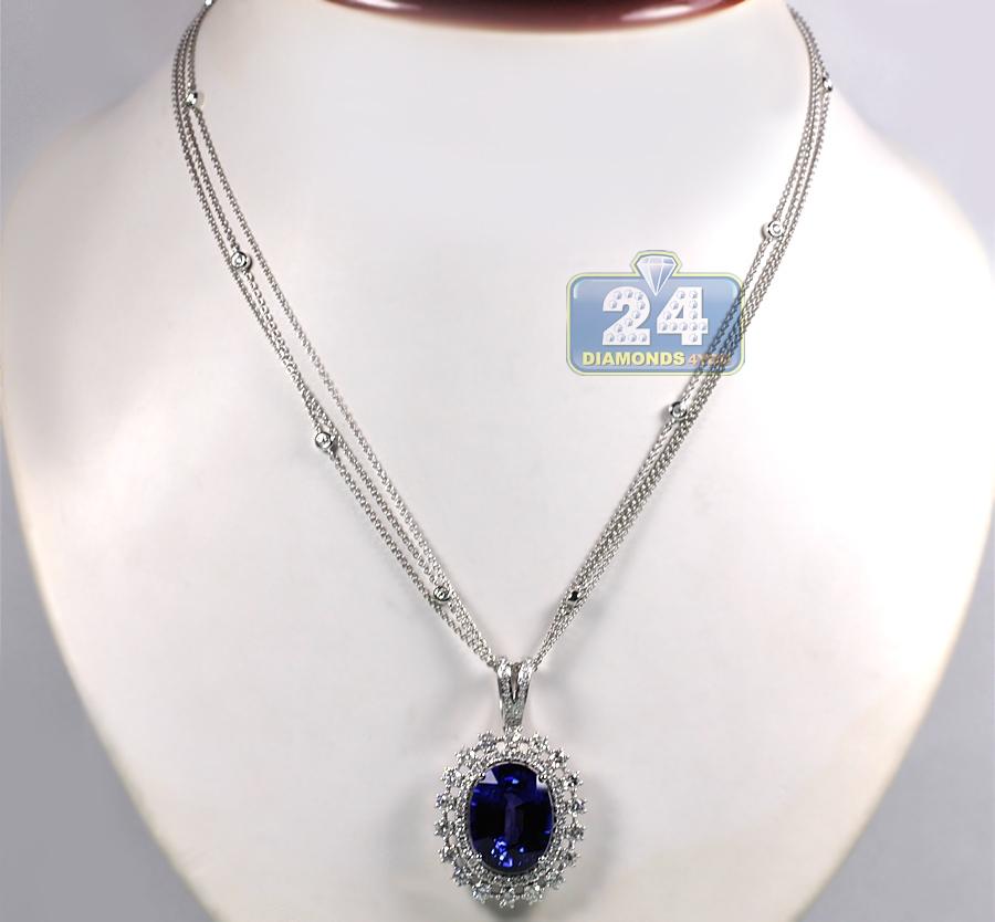 Womens Blue Sapphire Diamond Pendant Necklace 18k White