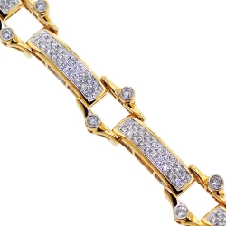 14K Yellow Gold 2.43 ct Diamond Mens Bicycle Bracelet 11 mm