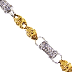 14K Two Tone Gold 4.46 ct Canary Diamond Mens Bracelet 7 mm