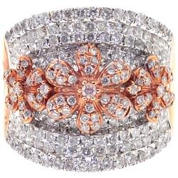 14K Rose Gold 2.17 ct Diamond Flower Womens Band Ring