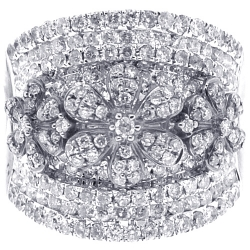 14K White Gold 2.15 ct Diamond Flower Womens Band Ring