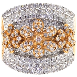 14K Yellow Gold 2.16 ct Diamond Flower Womens Band Ring