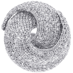 14K White Gold 4.92 ct Diamond Womens Round Swirl Ring