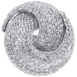 14K White Gold 4.92 ct Diamond Womens Round Swirl Ring