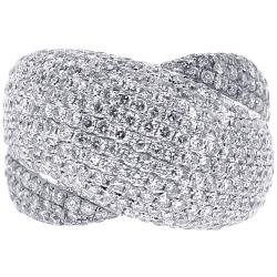 14K White Gold 4.00 ct Diamond Womens Criss Cross Ring