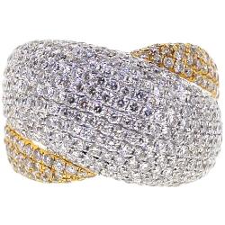 14K Yellow Gold 4.02 ct Diamond Womens Criss Cross Ring