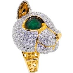18K Yellow Gold 7.14 ct Diamond Emerald Womens Cat Ring