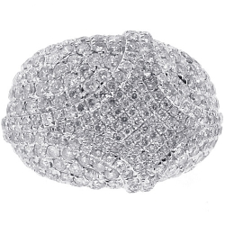 14K White Gold 4.63 ct Diamond Womens Dome Ring