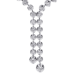 14K White Gold 3.65 ct Diamond Womens Lariat Necklace 17 Inches