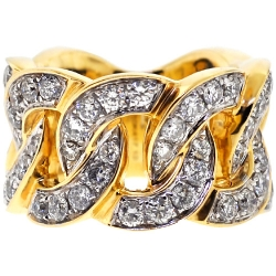 10K Yellow Gold 5.43 ct Diamond Mens Cuban Eternity Ring