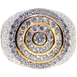 14K Yellow Gold 3.83 ct Diamond Mens Round Pinky Ring