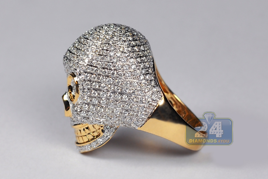 mens pave skull ring 14k yellow gold 3 25 ct