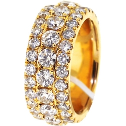 14K Yellow Gold 7.52 ct 3-Row Diamond Mens Eternity Ring 10 mm