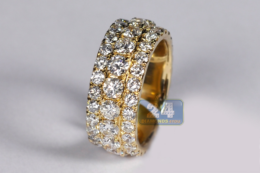 Mens Diamond Eternity Band Ring 14k Yellow Gold 7 52 Ct 10 Mm