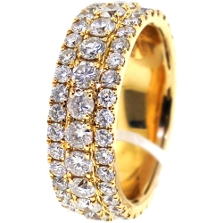 14K Yellow Gold 5.04 ct Diamond Mens Eternity Band Ring 8 mm