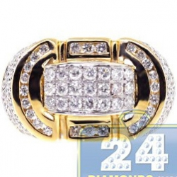 14K Yellow Gold 1.71 ct Diamond Mens Oval Signet Ring