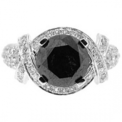 14K White Gold 5.45 ct Black Diamond Engagement Ring