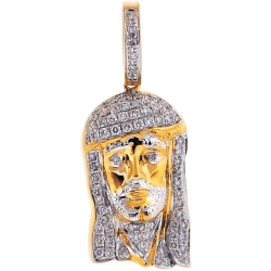 14K Yellow Gold 0.56 ct Diamond Jesus Face Mens Pendant